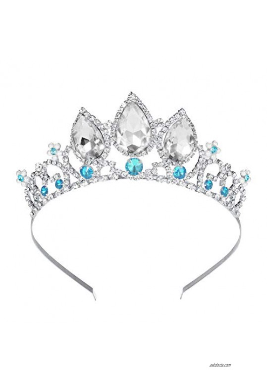 COCIDE Girls Crystal Tiara Silver Birthday Crown Rapunzel Pearl Headband for Women Princess Hairpiece for Kid Rhinestone Blue Gem Hair Accessories for Flower Girls Halloween Cosplay Costume Party Gift