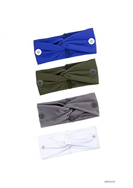 EIELO 4 Pack Button Headbands for Women Men Relax Your Ears Protection Face Cover Holder Elastic Sweat Wicking Scarf Bandana Turban Wrap Headband Cute Hair Hand Accessories