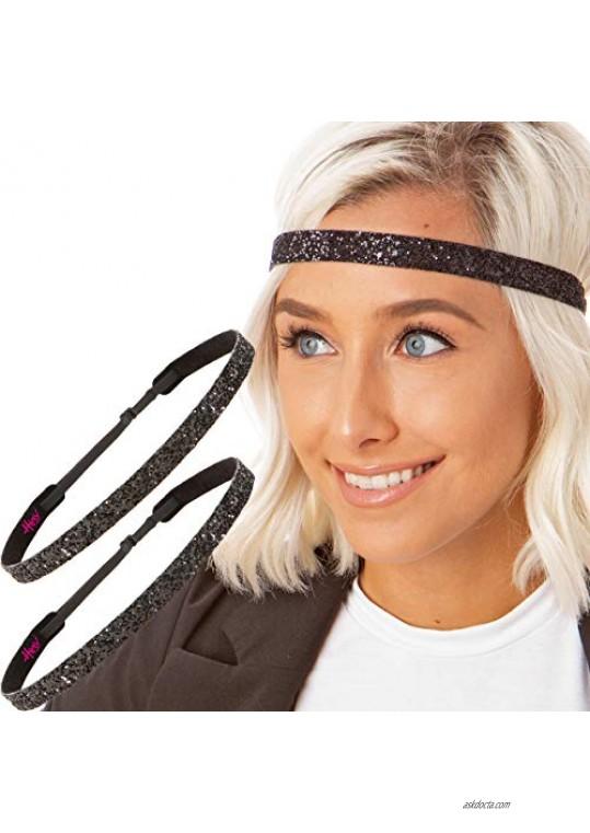 Hipsy Women's Adjustable NON SLIP Skinny Bling Glitter Headband Black Duo 2pk (Black)