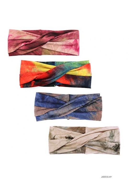 Lamdgbway 4PCS Headbands Elastic Cross Headwrap Gift for Women Girls Boho Style1