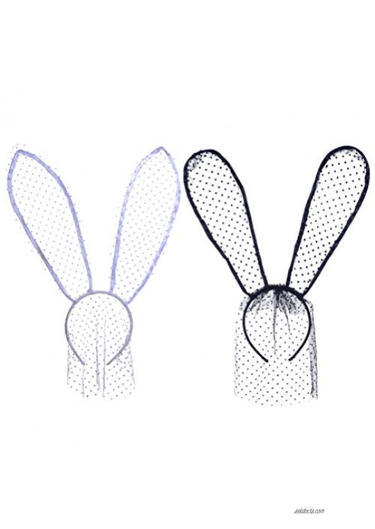 Lurrose 2Pcs Rabbit Ears Headbands Sexy Bunny Ears Lace Mask Veil Mask Hair Bands Costume Hair Accessory for Easter Halloween Christmas Cosplay Prom Party