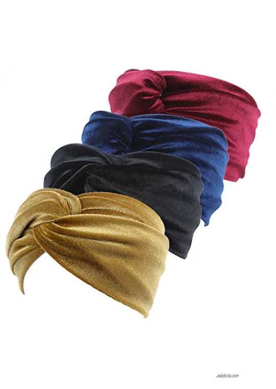Qhome 4 Pack Velvet Twist Headband Women Earmuffs Earwarmers Noble Scrunchy Twist Hair Band Turban Headbands Bandana Bandage