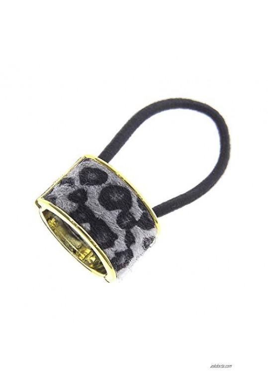 Rosemarie & Jubalee Women's Chic Hair Cuff Ponytail Holder Hair Tie With Elastic Band (Grey Black Leopard Print Fur)