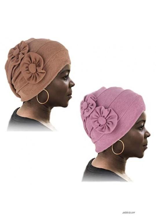 Woeoe Fabric Womens Head Wraps Khaki Stretch Cap Headwear Flower African Head Scarf Soft Elastic Head Cover for Women and Girls(2 Packs)