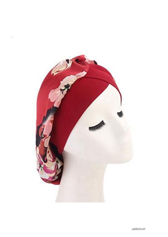 Women Satin Lined Sleep Bonnet Hair Cap Sleeping Slouchy Hat Slap Headwear for Curly Frizzy Hair (Wine red)