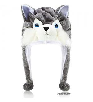 Wolf Plush Hat Winter Short Timber Wolf Hat Animal Ski Hat with Fleece Lining