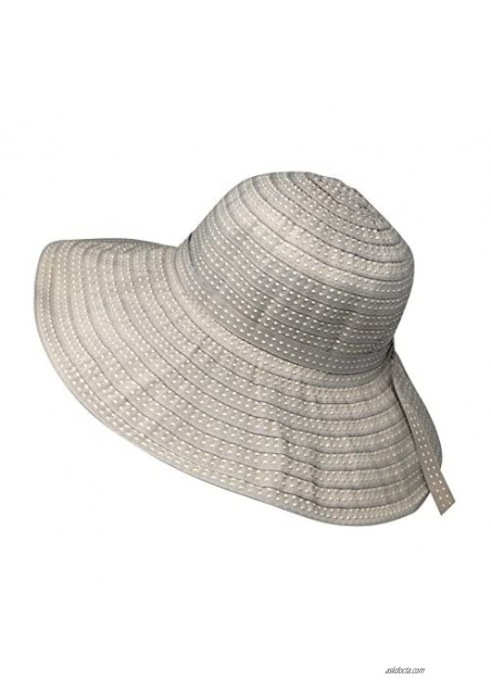 Packable Ribbon Crusher Sun Shade Beach Hat Adjustable Wide Shapeable Brim SPF UPF 50 UV Protection