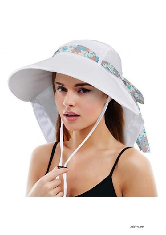Tirrinia Womens Sun hat Wide Brim Flap Cap with Floral Ribbon for Beach Hiking Camping Fishing Gardening Safari UPF 50+
