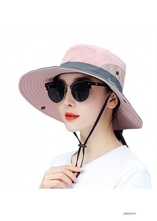 Women's Hiking Sun Hat Summer UV Protection Travel Outdoor Foldable Fishing Hats with Ponytail Hole
