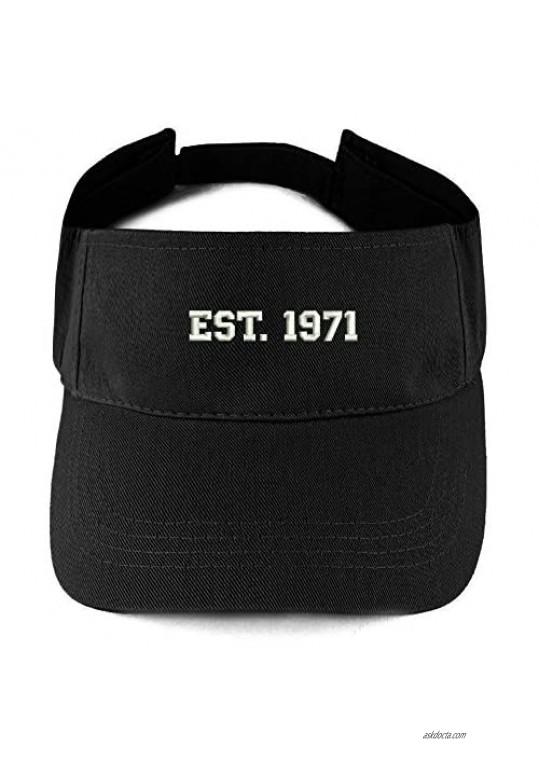 Trendy Apparel Shop EST 1971 Embroidered - 50th Birthday Gift Summer Adjustable Visor