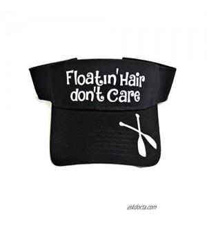 White Glitter Floatin' Hair Don't Care Black Cotton Sun Visor Boat River