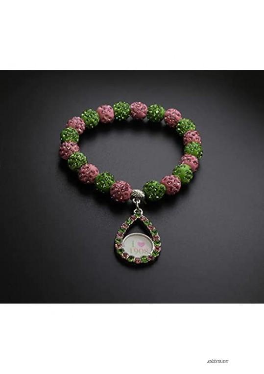Alpha Kappa Alpha Pink and Green Pearl Bracelet Greek Paraphernalia Sorority Gifts 1908 Alpha Kappa Alpha Bracelet Jewelry Graduation Sorority Gift for Women Girls