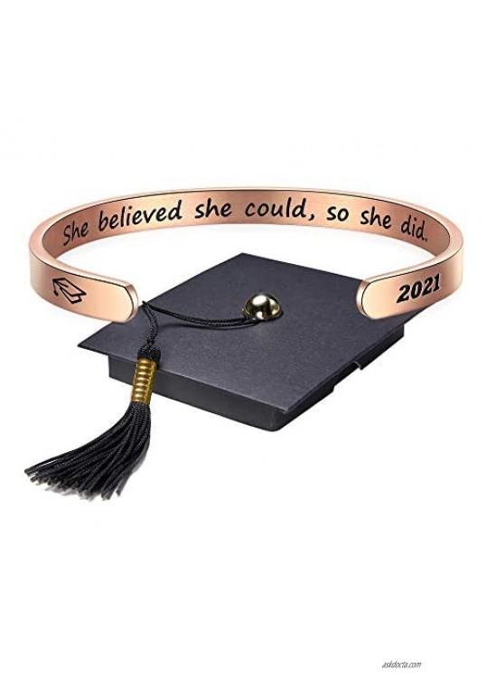 Class of 2021 Graduation Gifts Inspirational Cuff Bracelet Graduation Gifts for Her Seniors High School College Graduation Gifts Jewelry for Daughter Best Friend Women Girls