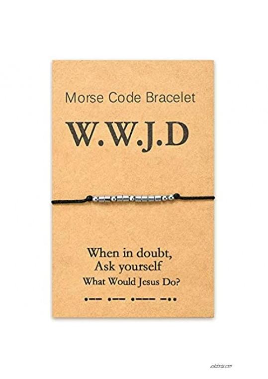Tarsus WWJD What Would Jesus Do Bracelets Fundraisers Religous Christian Inspirational Morse Code Gifts for Women Men or Boys Girls