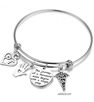 TGBJE Physical Therapy Bangle A Journey of a Thousand Miles Begins with a Single Step Wire Bracelet Graduation Gift for PT Bracelet
