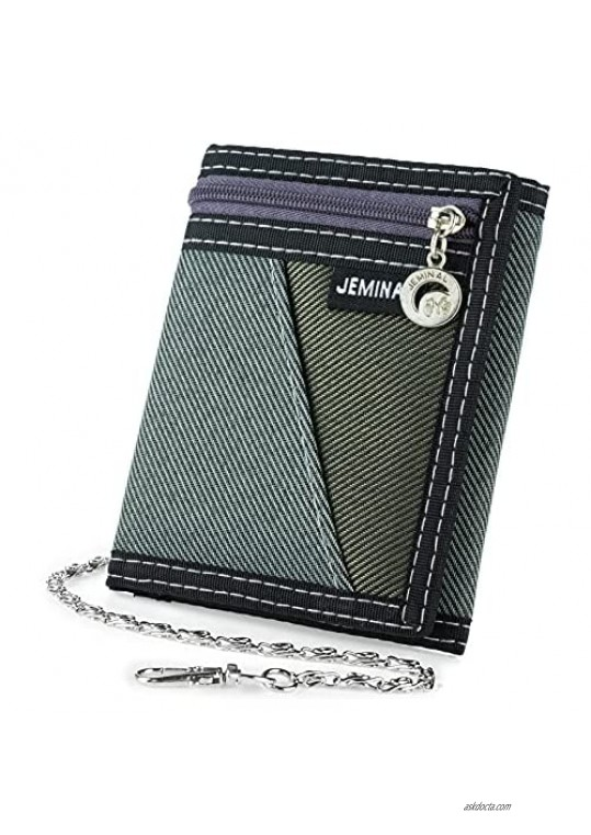 Boy Canvas Sport Wallet OURBAG Men Casual Trifold Velcro Short Wallet Fashion Purse with Chain