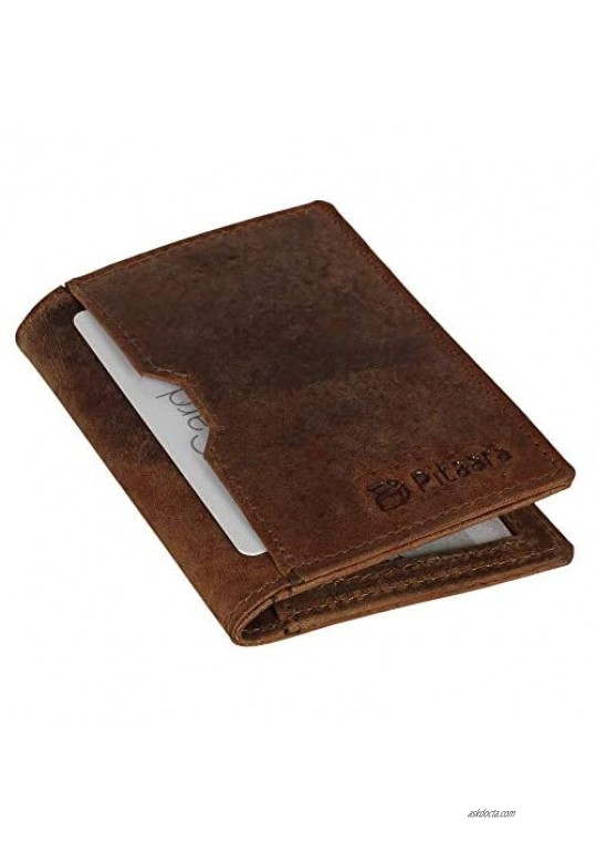 Genuine Leather Slim Hand Crafted Minimalist Bifold Front Pocket Wallet with RFID Blocking For Men