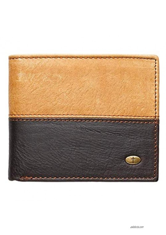 Genuine Leather Wallet for Men   Two-Tone w/Cross Emblem   Quality Classic Brown Leather Bifold Wallet   Christian Gifts for Men