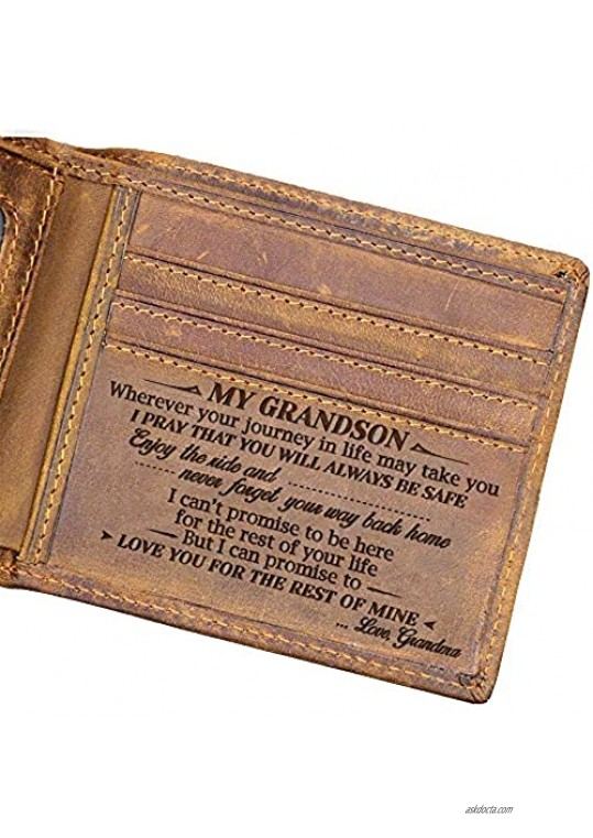 Laser Engraved Bifold Wallet for Grandson from Grandma Idea Gifts