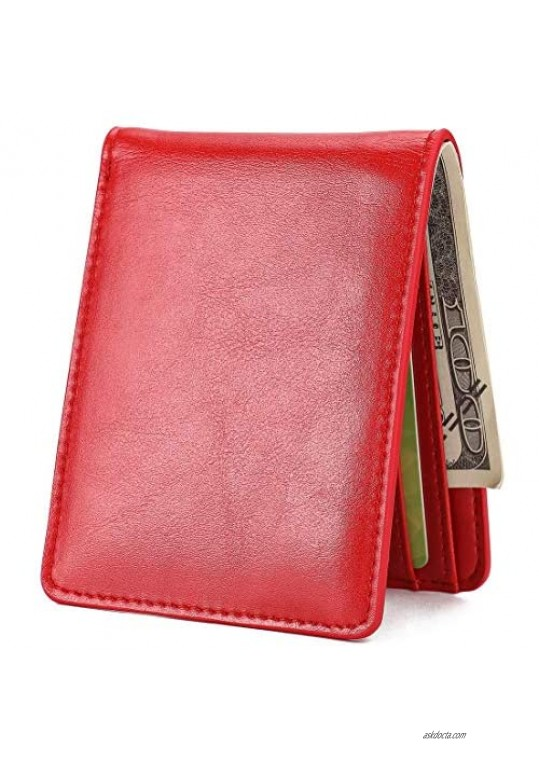 Mens Slim Front Pocket Wallet ID Window Card Case with RFID Blocking - Red