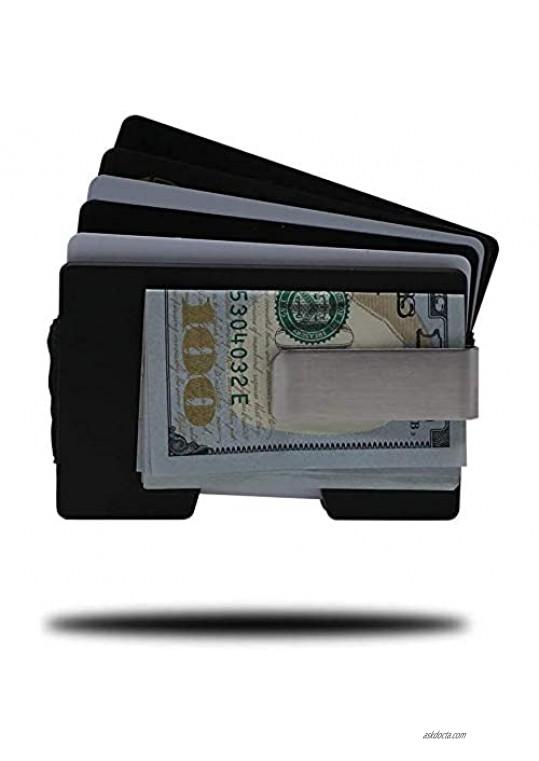 Vault - Super Slim Aluminum Wallet - Credit Card Holder with Removable Money Clip - RFID Blocking in Minimalistic Design (Matte Black)