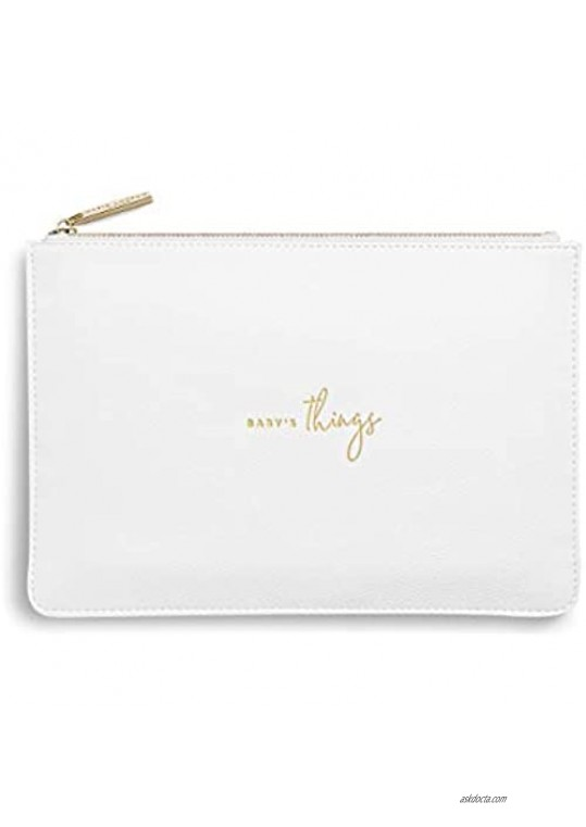 Katie Loxton Baby's Things Womens Medium Vegan Leather Sentiment Perfect Pouch White