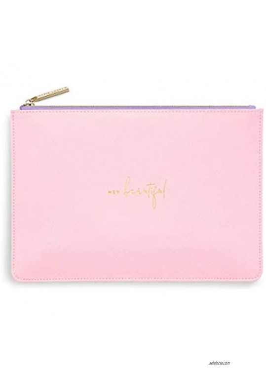 Katie Loxton Colour Pop Hey Beautiful Women's Medium Vegan Leather Clutch Perfect Pouch Pink & Lilac