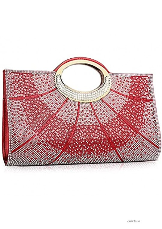 Labair Rhinestone Evening Bags and Clutches Crystal Clutch Purses for Women Evening Wedding Party Cocktail Purses Large Red Color.