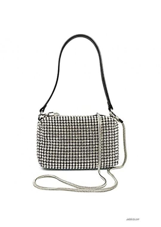 Leanoria Crystal Rhinestone Evening Handbag for Party Silver Bling Diamond Bride Purse Top Handle Bag