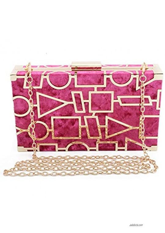 LETODE Women Evening Bags Velvet Handbag Metal Hollow Designer Wedding Party Clutch Bag