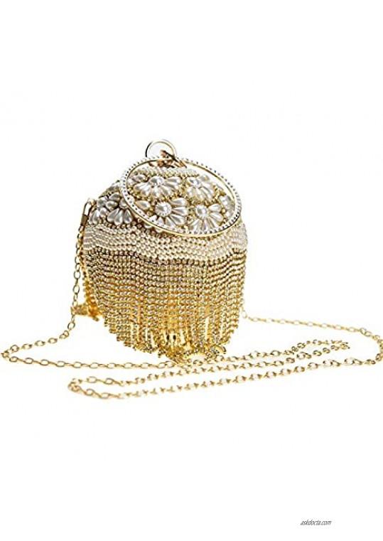 Round Ball Clutch 1920S Dazzling Full Rhinestone Evening Bag Tassel Purse Wedding Party Ring Handle handbag