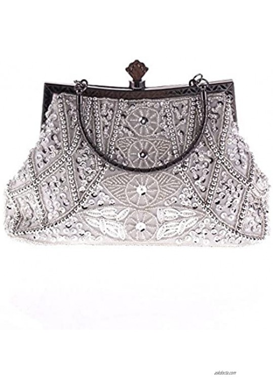 Vintage Beaded and Sequined Women Evening Bag Evening Purse Clutch Bag Silver