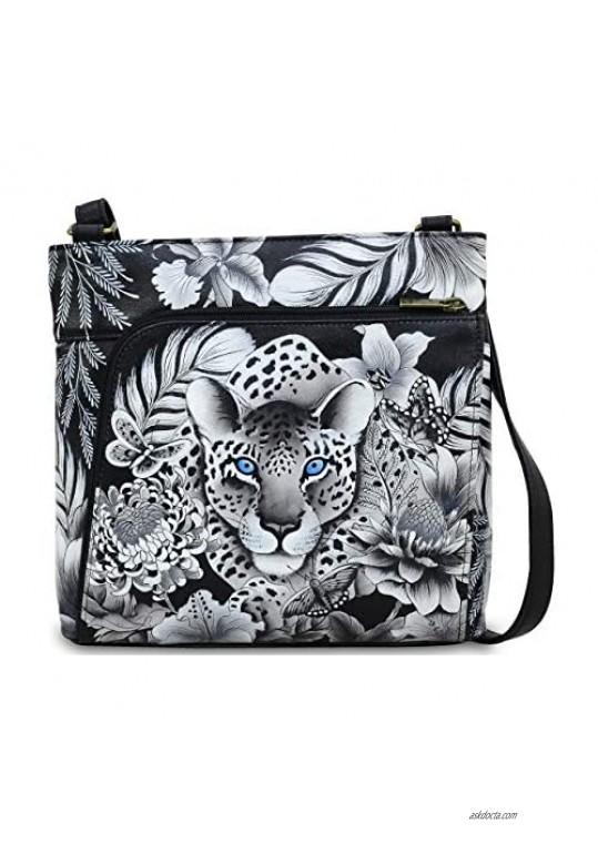 Anuschka Women's Genuine Leather Crossbody With Front Zip Organizer - Hand Painted Exterior