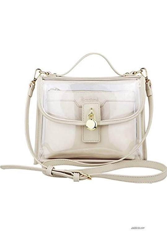 B BRENTANO Clear Top Handle Satchel Crossbody Bag with Removable Wristlet Pouch (Stadium Policy-Compliant Bag)
