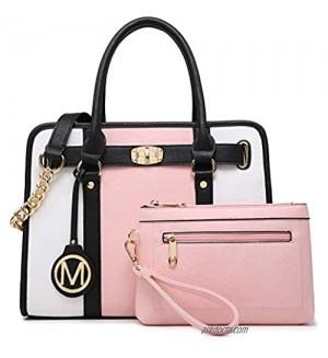M Marco Women's Fashion Satchel Handbags Two Tone vegan leather Shoulder Bag for ladies Top Handle Twist Lock Purse 2pcs Set