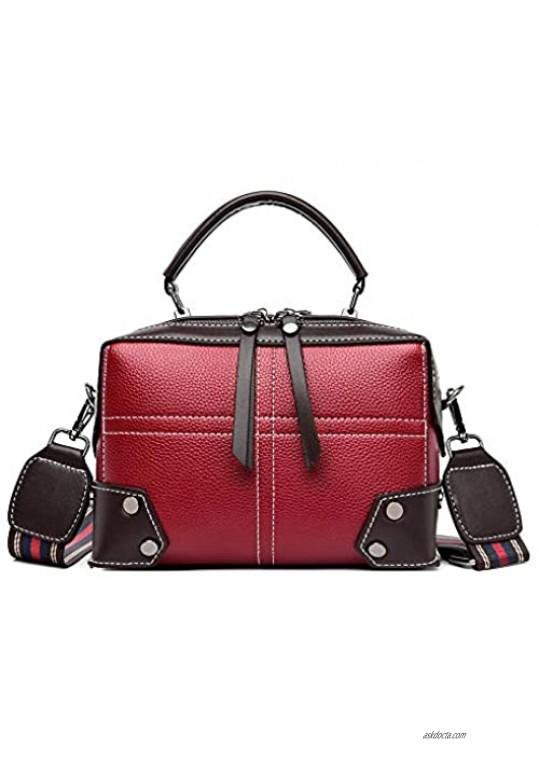 Women Small Crossbody Satchel Bags Mini Purse Top Handle Satchel Handbag With Stripe Wide Adjustable Strap
