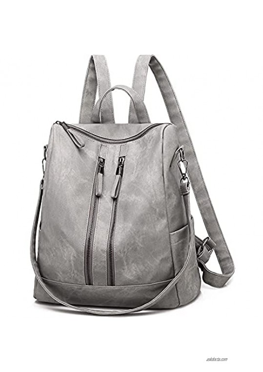 Women's Fashion Purse Backpack Girls Handbags and Shoulder Bag PU Leather Lady Travel Satchel bag rucksack backpack for women 6062 (Gray)