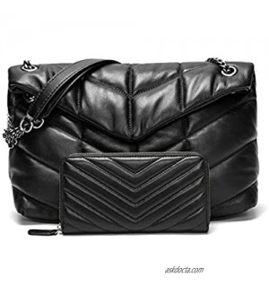 EvaLuLu Lambskin Leather Quilted Crossbody Bags for Women Genuine Leather Shoulder Bag Handbag with Wallet