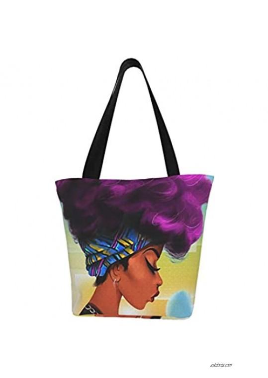 EZYES Womens Girls African Thinking Girl Tote Travel Bag Shoulder Handbag For Work Travel Business Beach Shopping School
