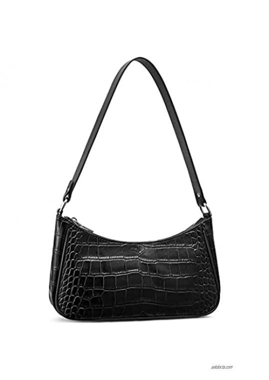 S-ZONE Leather Shoulder Tote Bag Retro Classic Clutch for Women Small Purse with Crocodile Pattern