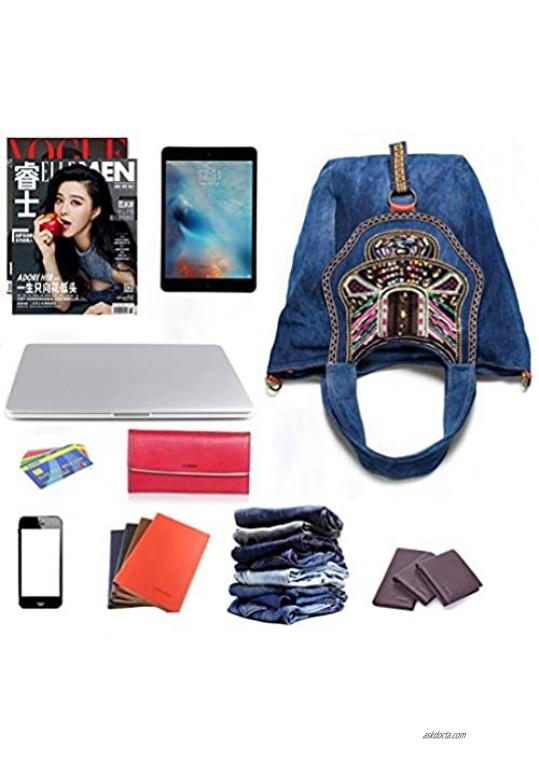 Women's Shoulder Bag Soft Denim Tote Retro Top Handle Shoulder Bags Casual Bigger Handbag Work Travel Weekender Bag
