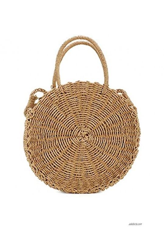 Womens Straw Bag Round Rattan Crossbody Bag Handwoven Natural Summer Beach Shoulder Bag