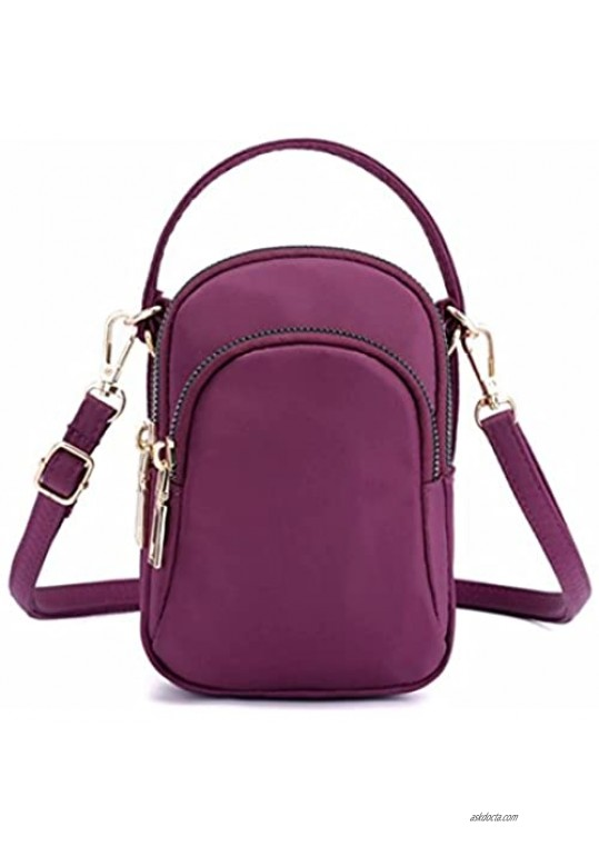 Small Crossbody Cellphone Shoulder Bags for Women Smartphone Wallet Purse with Removable Shoulder Strap-Purple
