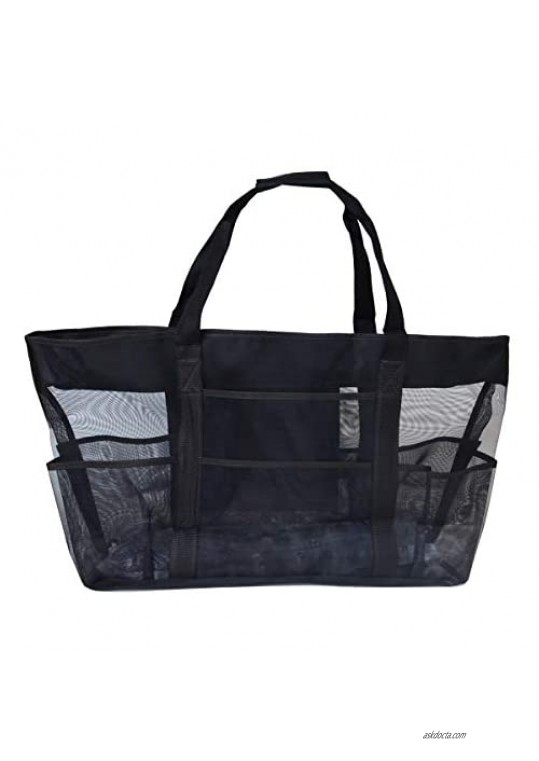 Baitaihem Mesh Heavy Duty Large Beach Bag 27.5 Oversized Carry Tote Bag for Towels Toys Family Pool Family Picnic Black