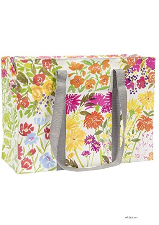 Blue Q Shoulder Tote Flower Garden. The carry-everywhere bag that features a hefty zipper exterior pocket wrap-around straps reinforced floor. Made from 95% recycled material 11h x 15w x 6.25d