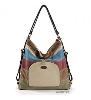 LarKoo Canvas Purse Handbag Women Tote Shoulder Bag Convertible Backpack
