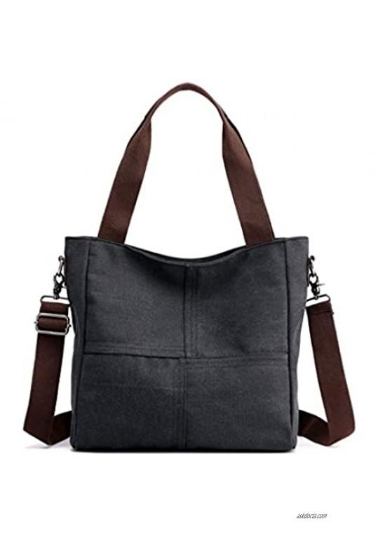 Women's Canvas Small Shoulder Bags Tote Purses Satchel Work Travel Crossbody Bag