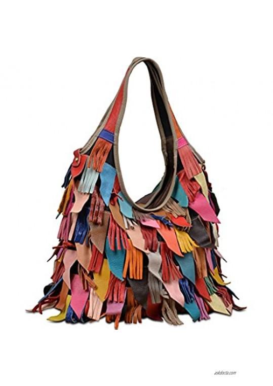 YALUXE Women's Soft Lambskin Leather Multicolor Tote Crossbody Shoulder Bag Tassel Fringe