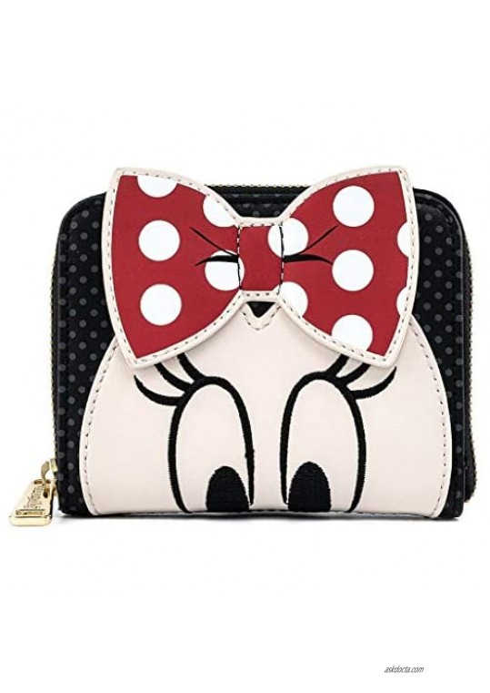 Loungefly Disney Minnie Mouse Face with Bow Faux Leather Zip Around Wallet