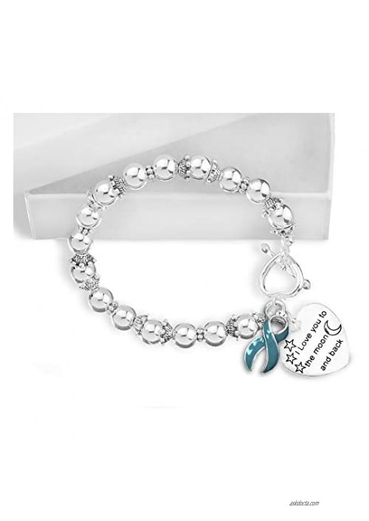 5 Pack Sexual Assault Awareness Love You Teal Ribbon Bracelets (5 Bracelets Individually Bagged)